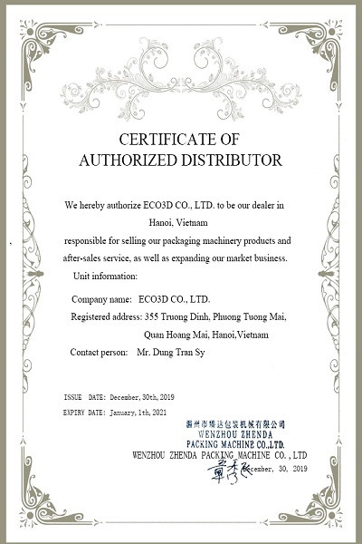ZD Pack Distributor's Certificate